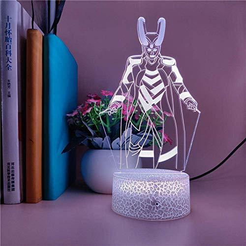 Lámpara de ilusión 3D Luz de noche LED Los Vengadores Loki Lámpara de mesa Decoración USB Fiesta Amigos Día festivo Control de regalo de cumpleaños Mejor cumpleaños para niños Regalos de vacaciones