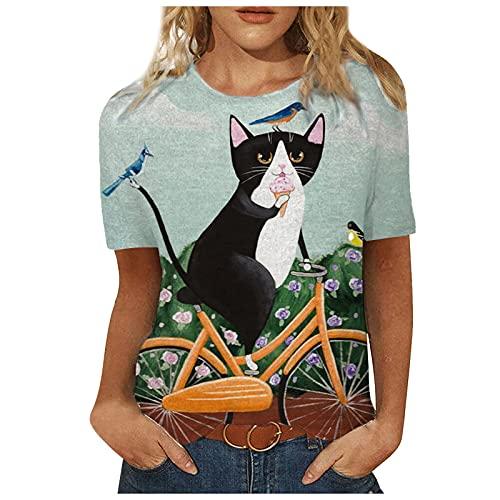 FOTBIMK Camiseta de las mujeres Mariposa Impreso Manga Corta T-shirt Verano Casual Cuello Redondo Suelto Tee Tops
