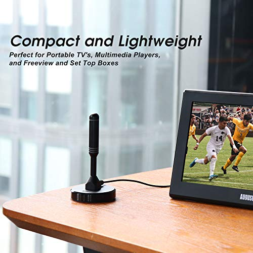 August DTA240 Antenne TV TNT – Antenne Portable Intérieure/Extérieure pour Récepteur TV USB / Télévision Numérique / Radio DAB – Avec Embase Magnétique