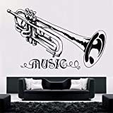 AGjDF Trompete Musik Wandaufkleber Abnehmbare Musik Stil