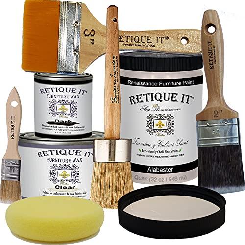 Retique It Chalk Furniture Paint by Renaissance Deluxe Starter Kit, 8 Piece Set, 11 Alabaster