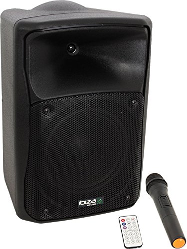 Ibiza 15-6070 Draagbaar versterkersysteem met CD/USB/SD/Bluetooth en 1-Vhf draadloze microfoon, 20 cm (8 inch), 150 W zwart