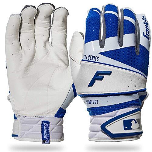 Franklin Sports Freeflex Pro Series Batting Gloves White/Royal Youth Large