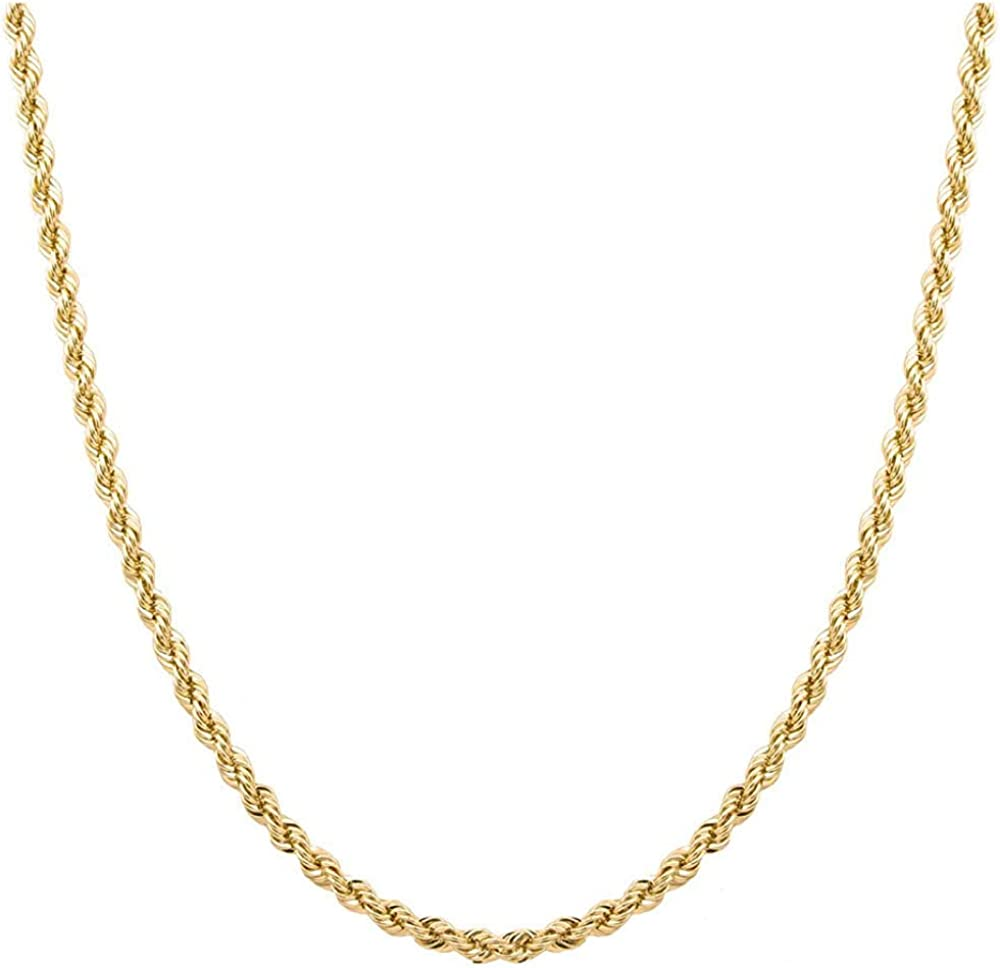 Dubai Collections 24K Rope Chain Necklace Thin for Some Charms Pendant Men Women Teens Children Strong w/Pendant White Gold 2mm Solid Lobster Plated Clasp 18inch - 24inch