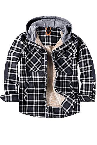 cappotto uomo quadro Mr.Stream Camicia Hooded da Uomo da Boscaiolo Plaid Flanella A Quadri Checked Camicia Imbottita da Lavoro di Cotone Cappotto Hoody X-Large Grey