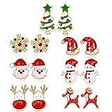 Fascigirl 7 Paia di Orecchini di Natale Carino Stile Natalizio per Donne Regalo