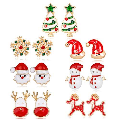 Fascigirl Ohrringe Weihnachten, 7 Paar Weihnachtsohrringe Ohrstecker Weihnachten Geschenk Ohrringe Weihnachtsschmuck Ohrringe Rentier Anhänger Weihnachten für Damen Frauen