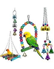DERU Giocattoli Pappagallo di Uccelli, Pappagallo in Legno Giocattoli Set Campana(5 Pezzi) Altalene per Uccelli Giocattoli, per pappagalli Grandi, Uccelli, Piccoli pappagalli, fringuelli