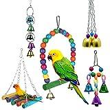 DERU Juguete para Loros, Juguetes para Masticar Loros, Juguete de Loro para pájaros,5 Piezas Juguetes para Pájaros Accesorios, Escalera de Madera, Columpios, Loro, pájaros de Amor, guacamayos