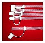 "5 New 13"" Clear Flex Straws Plastic Reusable Flexible Round Resealable w/Cap"