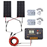 ECO-WORTHY 200 Watt (2pcs 100W) Monocrystalline Solar Panel Complete Off-Grid RV Boat Kit with LCD Charge Controller + Solar Cable + Mounting Brackets for Homes RVs Car Battery Charging