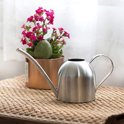 Jourad 1L Gießkanne aus Edelstahl, Silberner Vintage-Hochleistungstopf für Pflanzen, Großer Streutopf mit Langem Wasserhahn für Hauspflanzungen im Innen- Und Außenbereich, Gartenarbeit