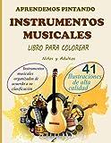 Aprendemos Pintando Instrumentos Musicales: Libro para colorear Instrumentos musicales de viento, cuerda y percusión