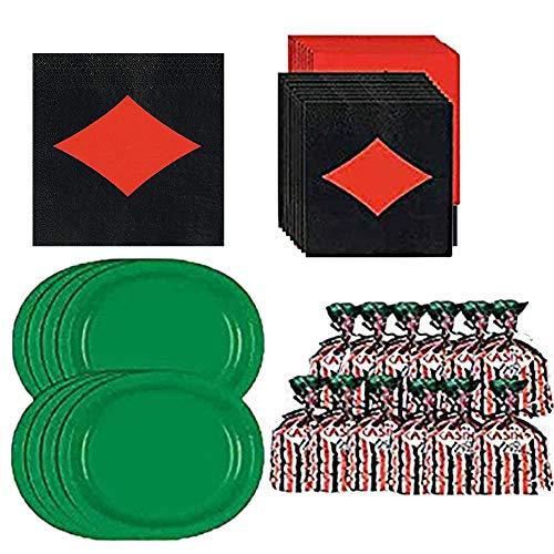Paquete de fiesta de casino único | servilletas, platos, cubierta de mesa y bolsas de celofán | Ideal para las Vegas/Noche de póquer cumpleaños/Navidad/fiestas temáticas corporativas