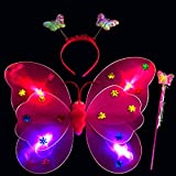 Xshuai 3 pcs Filles LED Clignotant Light Up Fée Ailes de papillon + Baguette magique + bandeau Costume Déguisement jouet, idéal pour enfants bébé fille en école Maternelle, anniversaire