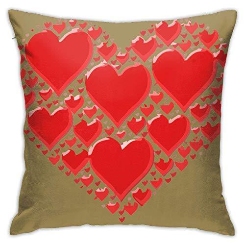 Lawenp Love Heart Funda de Almohada Suave a Prueba de frío y Calor 45 45