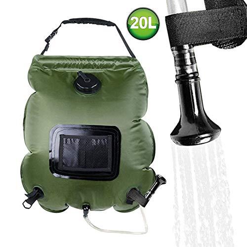 FLYFISH Bolsa de ducha solar de 20 l para camping, ducha portátil, bolsa de agua para senderismo, viajes, baño al aire libre