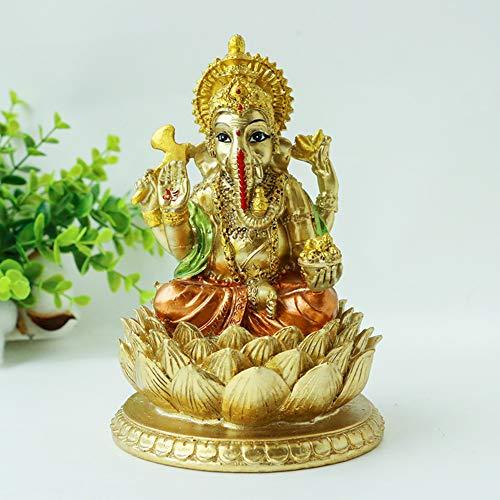Hindu God Lord Ganesha Statue - India Ganpati Idol Elephant Sculpture - Indian Buddha Mandir Pooja Temple