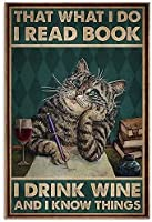 2個 私が読んでいること私は本を読んでいます私はワインを飲みますそして私は物事を知っていますブリキのサイン金属板装飾的なサイン家の装飾プラークサイン地下鉄の金属プレート8x12インチ メタルプレートブリキ 看板 2枚セットアンティークレトロ