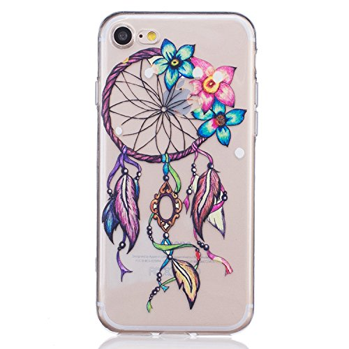 3Cworld Case for Apple iPhone SE 2020 2nd Generation, iPhone 8 and iPhone 7, 4.7-Inch, Ultra Thin Clear Art Pattern Crystal Gel TPU Rubber Flexible Slim Skin Soft Case (Dream Catcher Flower-Colorful)