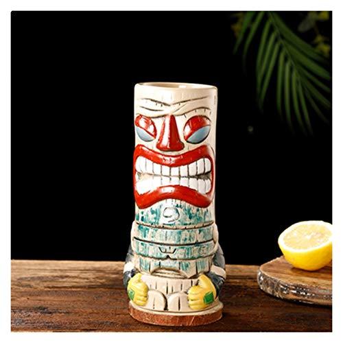 Copa De Cóctel Totem Creativo tótem cara barra vidrio vino copas de cócteles whisky taza cerveza taza jugo taza espesar (Color : R)