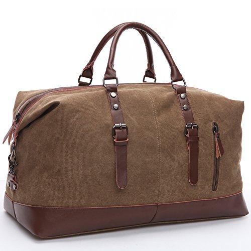 Limirror vintage Canvas Reisetasche Sporttasche weekender Tasche für Damen und Herren mit der Großen Kapazität (Kaffe)