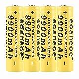 4 pcs 18650 Batería Recargable de Iones de Litio 3.7V 9900mah Baterías de botón de Gran Capacidad para Linterna LED, iluminación de Emergencia, Dispositivos electrónicos, etc