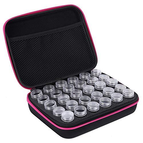 Aufbewahrungsbox, 30 Steckplätze Diamant-Stickbox Diamant-Malzubehör Werkzeug Aufbewahrungsbox zur Aufbewahrung von Diamanten, Pillen, Ohrringen usw.(rose red)