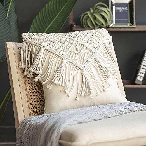 Phantoscope クッション 装飾枕 ボヘミアン タッセル綿100%手作り かぎ針編み 北欧 インテリア かわいい 農家のソファ抱き枕 45×45cm B オフホワイト
