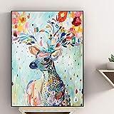 KWzEQ Imprimir en Lienzo Alce de Color para decoración del hogar Cuadros Arte de la Pared Cartel,70x95cm,Pintura sin Marco