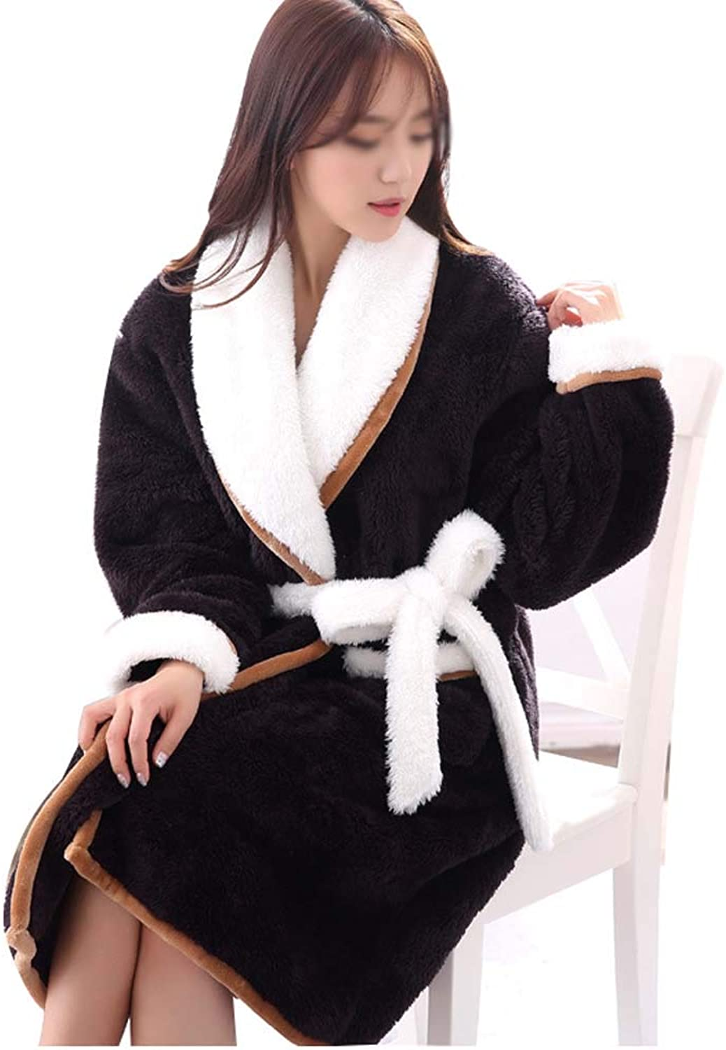 HONGLIAN Winter Yukata Warm Padded Bathrobe Coral Velvet Couple Pajamas Long Sleeve Simple Fashion Black Brown Dressing Gown HONGLIAN (color   Male, Size   L)