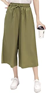 ELPIS レディース カラフル プチプラ カジュアル 7分丈 ガウチョ パンツ ワイド パンツ スカンツ スカーチョ キュロット ウエスト ゴム 5色 S M L XL(アーミーグリーン,XL)