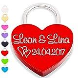 Liebesschloss Herzschloss graviert liebes schloss rot mit Gravur und 2 Schlüssel Organzabeutel liebeschloss herzform Jahrestag Valentinstag Geburtstag Muttertag (Vorderseite, rot)