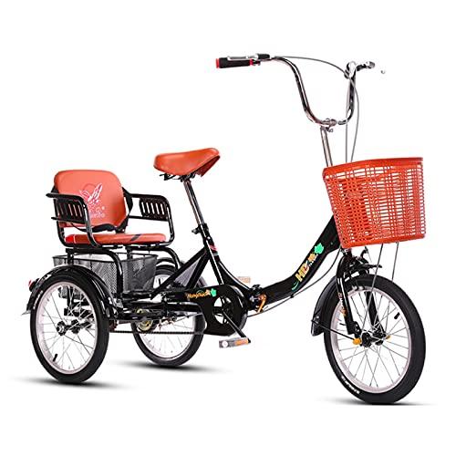 zyy Dreirad für Erwachsene 16 Zoll 1 Gang Zusammenklappbar mit Warenkorb 3 Rad Fahrrad aus Aluminiumlegierung Fahrrad Erwachsenendreirad mit Korb mit Einkaufskorb (Color : Black)