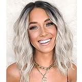 Peluca gris con raíces oscuras pelucas cortas synthetic hair wig pelucas bob despedida media ondas pelo rizado peluca mujer 14inch(35cm)