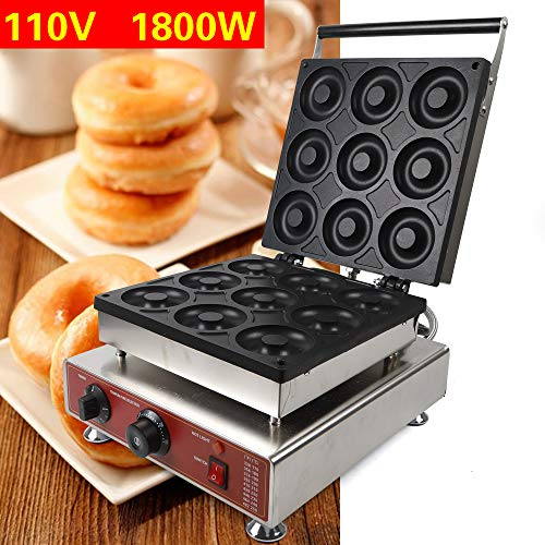 TFCFL Commercial Use Nonstick 110v Electric 9pcs 9cm Doughnut Baker Maker Machine Non Stick Donut...