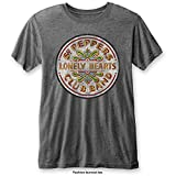 Rockoff Trade The Beatles SGT Pepper Drum Burnout Camiseta, Gris (Charcoal), M para Hombre
