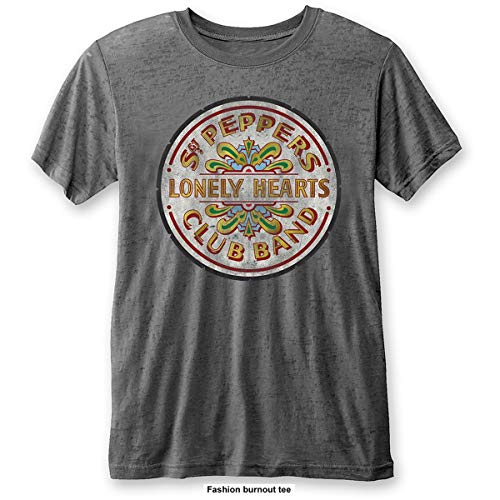 Rockoff Trade The Beatles Sgt Pepper Drum Burnout T-Shirt, Grigio (Carbone), L Uomo