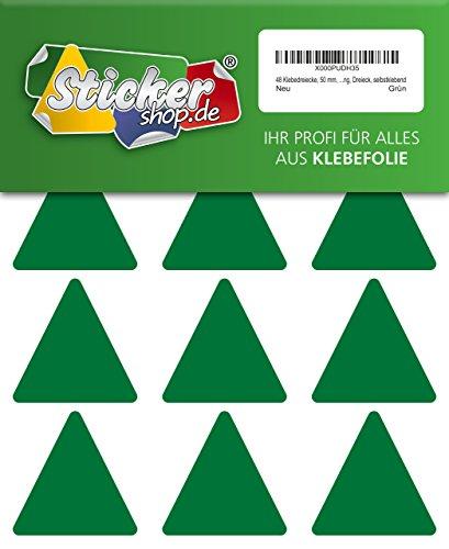 48 Aufkleber, Dreieck, Sticker, 50 mm, grün, PVC, Folie, Vinyl, glänzend, Klebemarkierung, selbstklebend