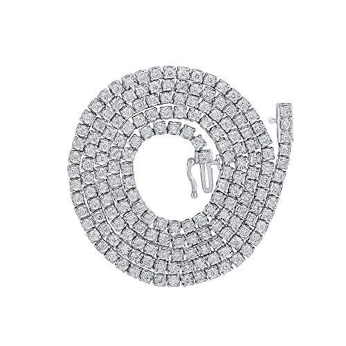 10K White Gold Mens Round Diamond 22' Tennis Chain Necklace 3-3/8 Cttw