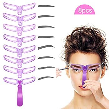 Eyebrow Stencils Eyebrow Template Eyebrow Shaping Kit,8 Styles Reusable Eyebrow Stencil with Handle and Strap Washable
