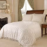 Beatrice Home Fashions Medallion Chenille Bedspread, King, Ivory