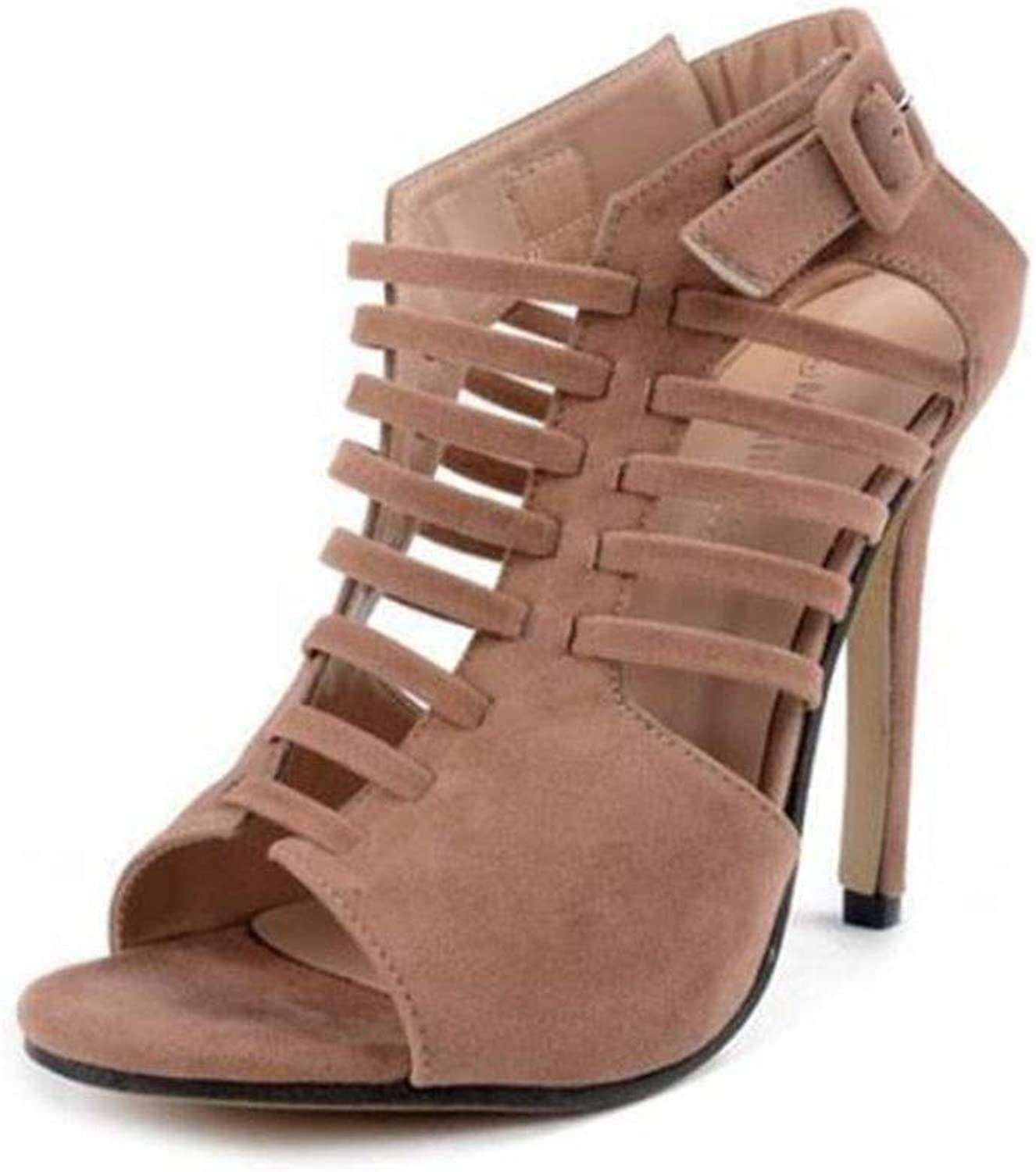 shoes High-Heeled Strips, Strips, Roman, Sandals, Fish Mouth, 37-46 Women's, Large Size