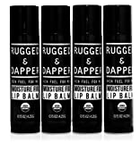 RUGGED & DAPPER Organic Lip Balm Set for Men, Eucalyptus and Mint, 4 Pack