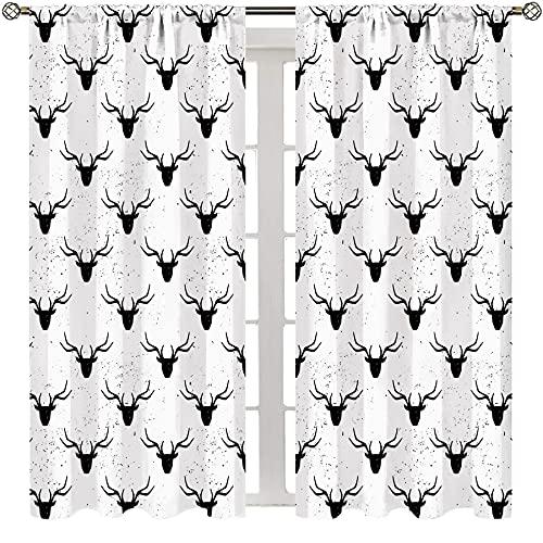 MRFSY Colorido abstracto dormitorio cortina ciervo cabeza con cuernos silueta forma manchado fondo desgastado ilustración animal negro blanco dormitorio minimalista estilo cortinas W63xL63 pulgadas