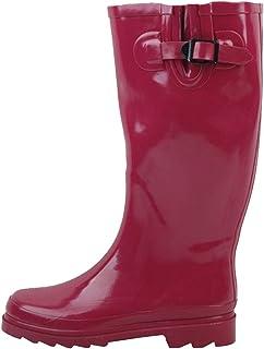 SBC Womens Rain Boots Adjustable Buckle Fashion Mid Calf Wellies Rubber Knee High Snow Multiple Styles