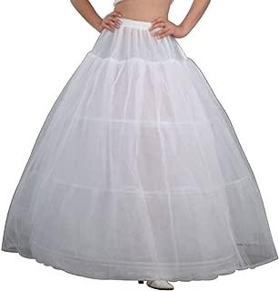 JERKKY Sottoveste 1 Pezzo Donna Vita Regolabile 3 Cerchi A-Line Matrimonio Sottoveste da Sposa Crinolina Singolo Strato Abito da Ballo Bianco Mezza Gonna Sottogonna