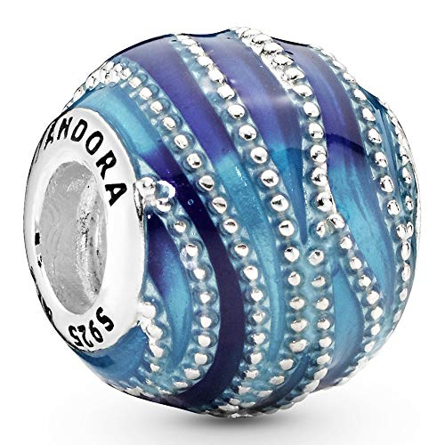 Pandora Moments Blaue Welle Charm Sterling Silber 797012ENMX