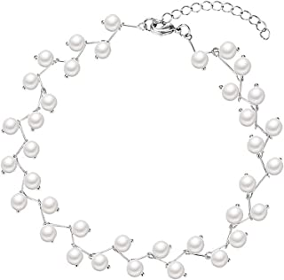 Women's Elegant Short Pearl Collar Necklace, Bridal Wedding Simulation Pearl Choker Necklace Cocktail Party Girl Clavicle Chain Jewelry
