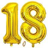 Jrzyhi Globos con número 18 de cumpleaños dorados gigantes, número 18, helio, número 18, número XXL 18. Happy Birthday 18, globos gigantes para cumpleaños, bodas, fiestas, decoración, 100 cm